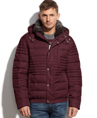 Marc New York Dave Hooded Fur-Collar Ultra Down Jacket