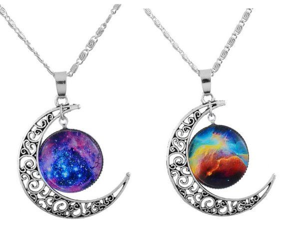 Filigree Crescent Moon Bff Best Friends 2 Pc Chain Charm Necklace