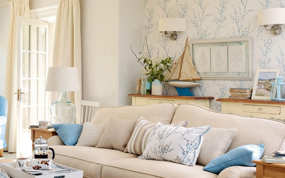 Pussy Willow Off White Seaspray Blue Floral Wallpaper At Laura Ashley