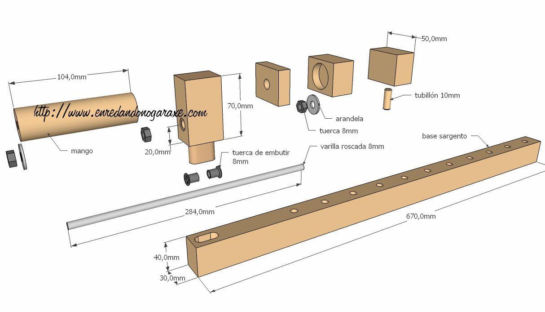 Planos del sargento barra de carpintero ideias para a for Planos de carpinteria de madera