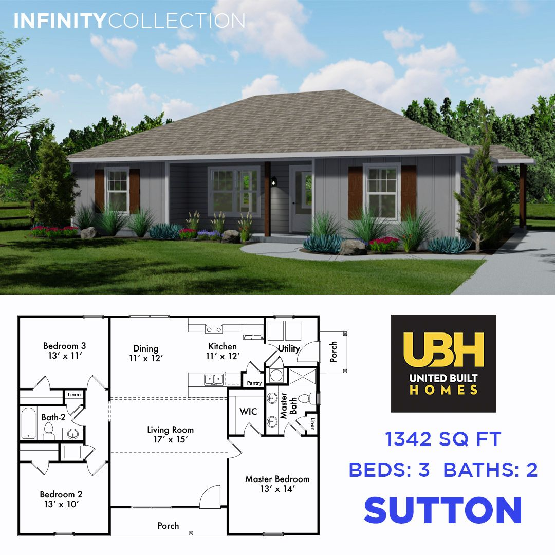 Introducing Our Sutton This Home Has 1 342 Sq Ft And 3 Bedrooms 2 Bathrooms Choose Optional Garage Or Carpo In 2020 Custom Built Homes Home Builders Building A House