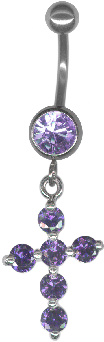 sterling silver jeweled cross belly ring14g at