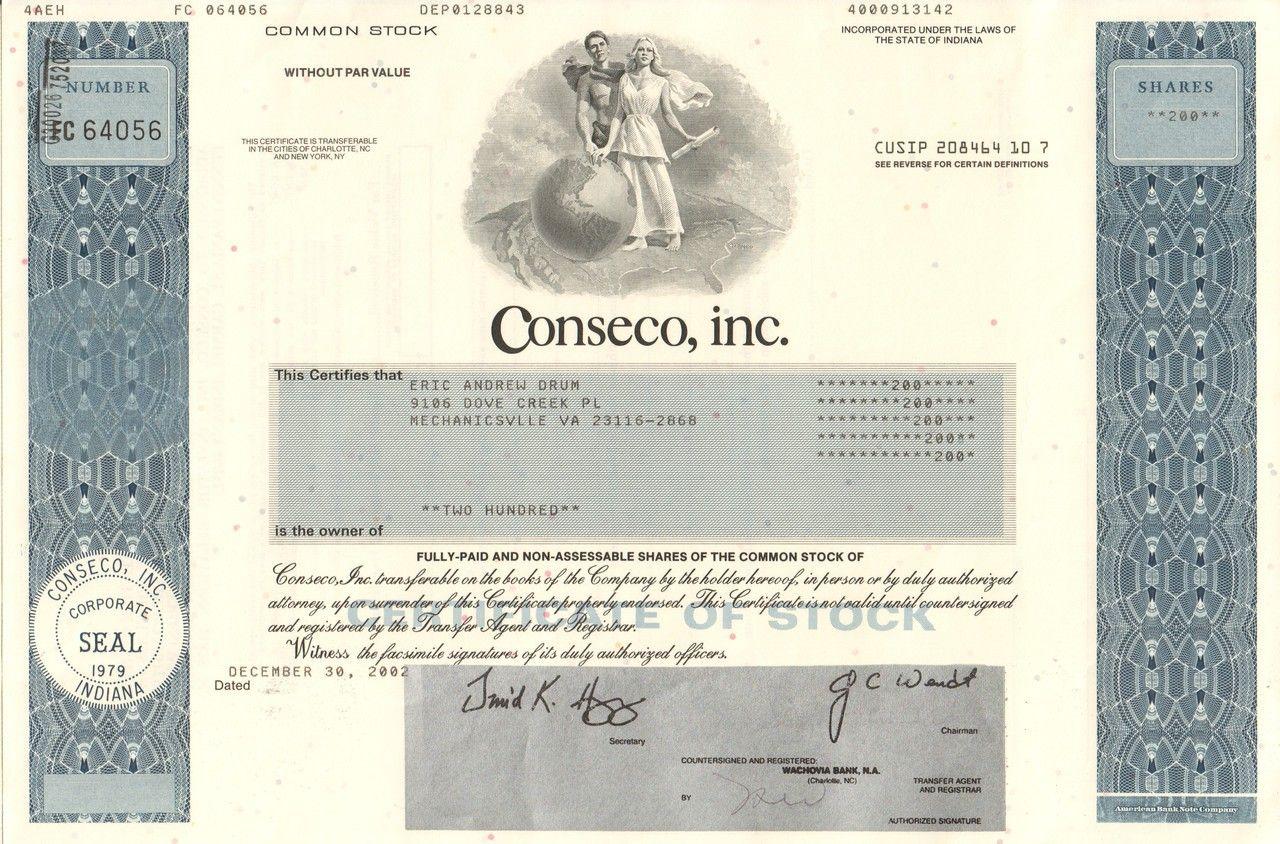 Conseco inc 2002 3rd largest bankruptcy national life