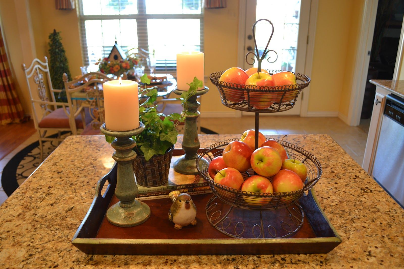 Kitchen Table Centerpieces With Fruits And Candles Kitchen Island Centerpiece Kitchen Island Vignette Kitchen Table Centerpiece