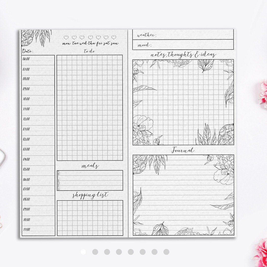 Daily planner, Printable, Student Planner, Travelers