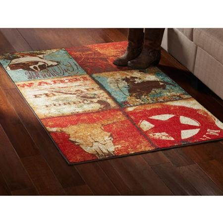 mainstays ms 20x34 western ways multi area rug | nylon rugs and