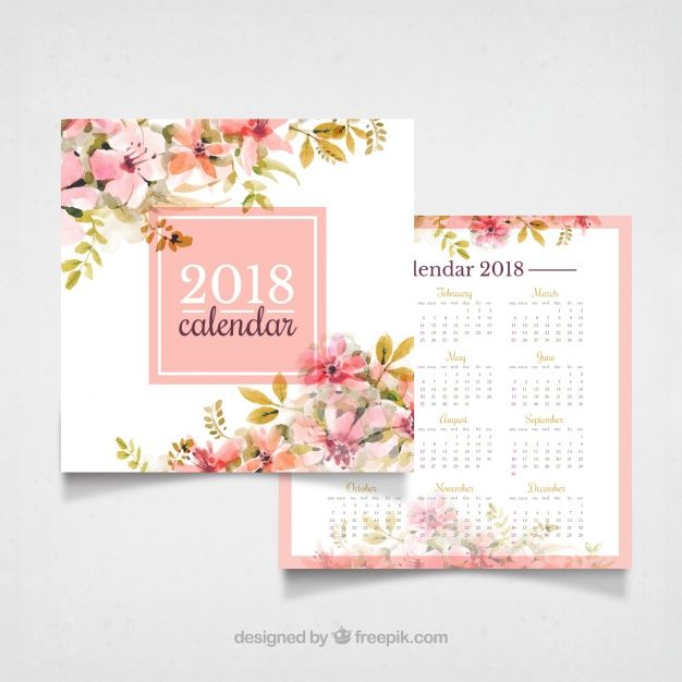 Download Vintage 2018 Calendar With Watercolor Flowers For Free Flower Calendar Calendar Design Watercolor Flowers