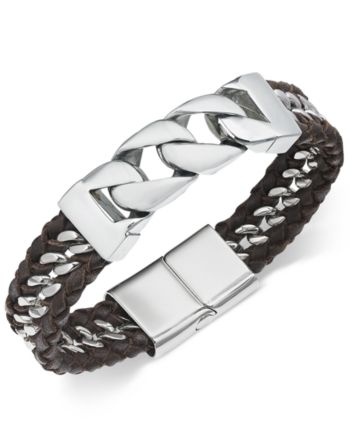 5d0e49ddb441 Sutton by Rhona Sutton Men s Stainless Steel   Leather Woven Bracelet -  Silver
