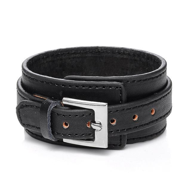 Wide Leather Belt Bracelet Adjustable Buckle Wristband Cuff Bangle Jewelry