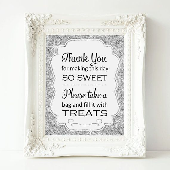 Candy Buffet, Silver Bridal Shower Sign, Candy Buffet Sign ...