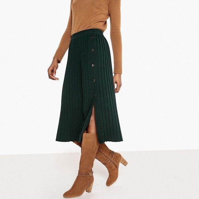 a78ca238051189 Jupe mi-longue en tricot plissé vert La Redoute Collections | La ...