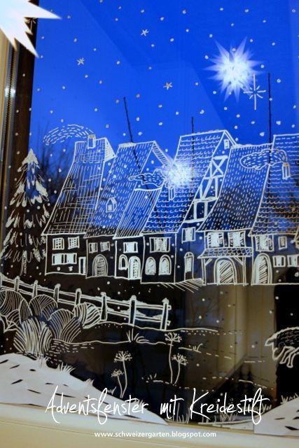 Adventsfenster Ideen.Adventsfenster Ideen Kreidestift Fl C3 Bcssig Bemalen Dorf