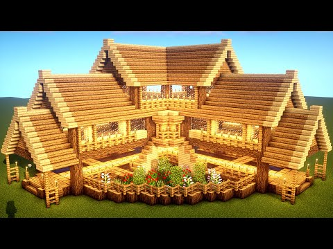 Easy Minecraft Large Oak House Tutorial How To Build A Survival House In Minecraft 33 Youtube In 2020 Easy Minecraft Houses Cute Minecraft Houses Minecraft Farm