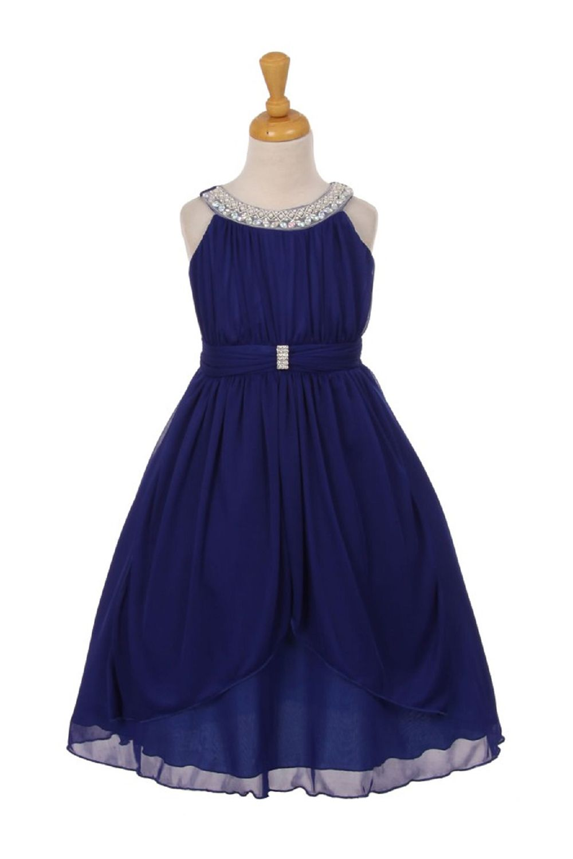 Royal blue sleeveless beaded neck trim chiffon matt jersey flower