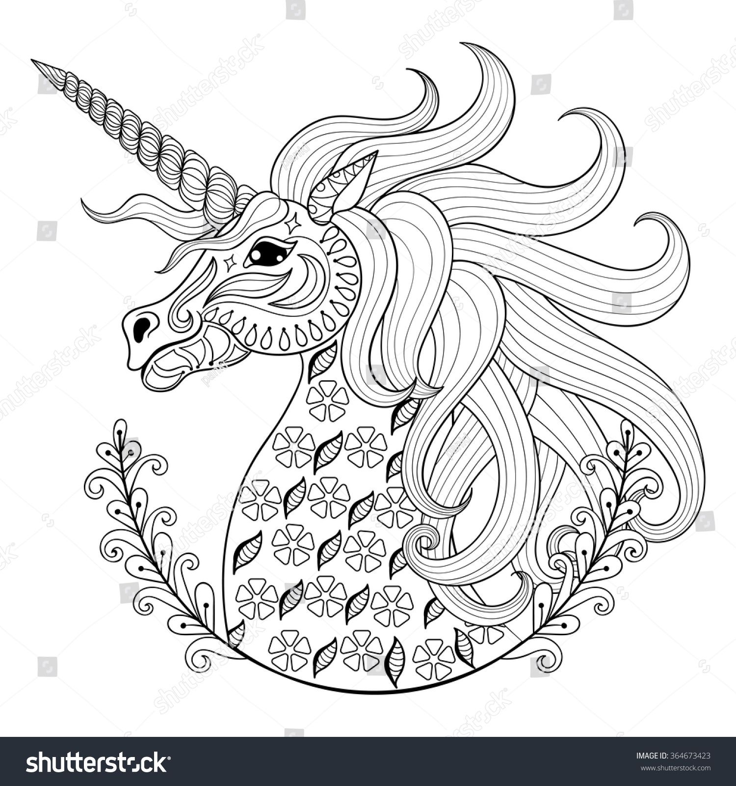 Anti stress colouring doodle and dream - Stock Vector Hand Drawing Unicorn For Adult Anti