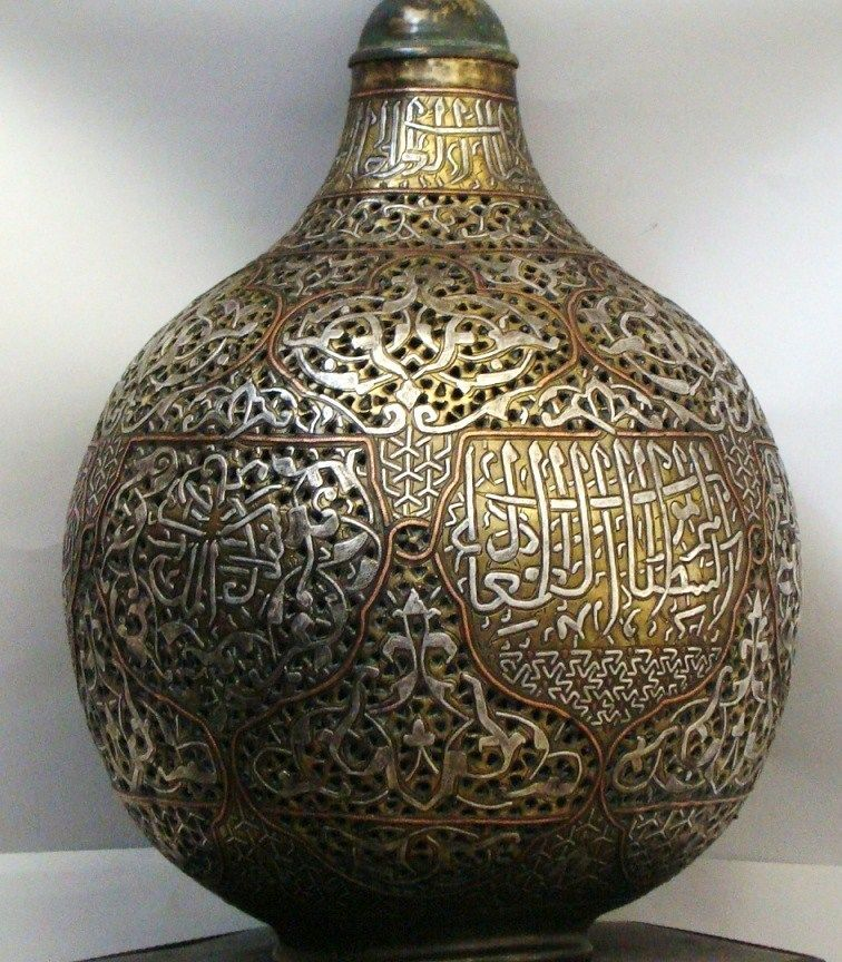 Islamic mosque lamp, copper, silver and inlad of Damascus ...