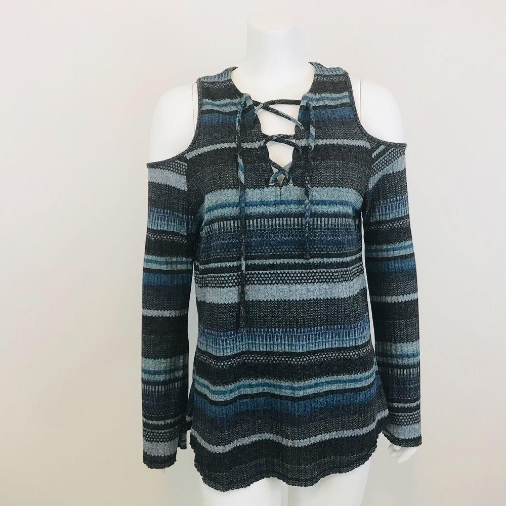70c7d0998a540a Elan Womens Cold Shoulder Knit Top Shirt Blue Striped Long Bell Sleeve Size  M  Elan  KnitTop  Casual