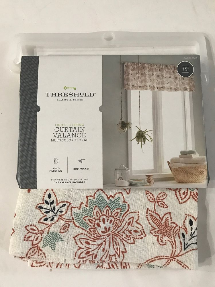 Threshold Light Filtering Floral Curtain Valance 54 X15 Rust