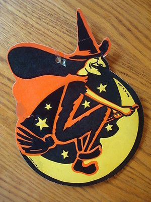 Luhrs Halloween Die Cut Witch On Broom  Decoration Vintage