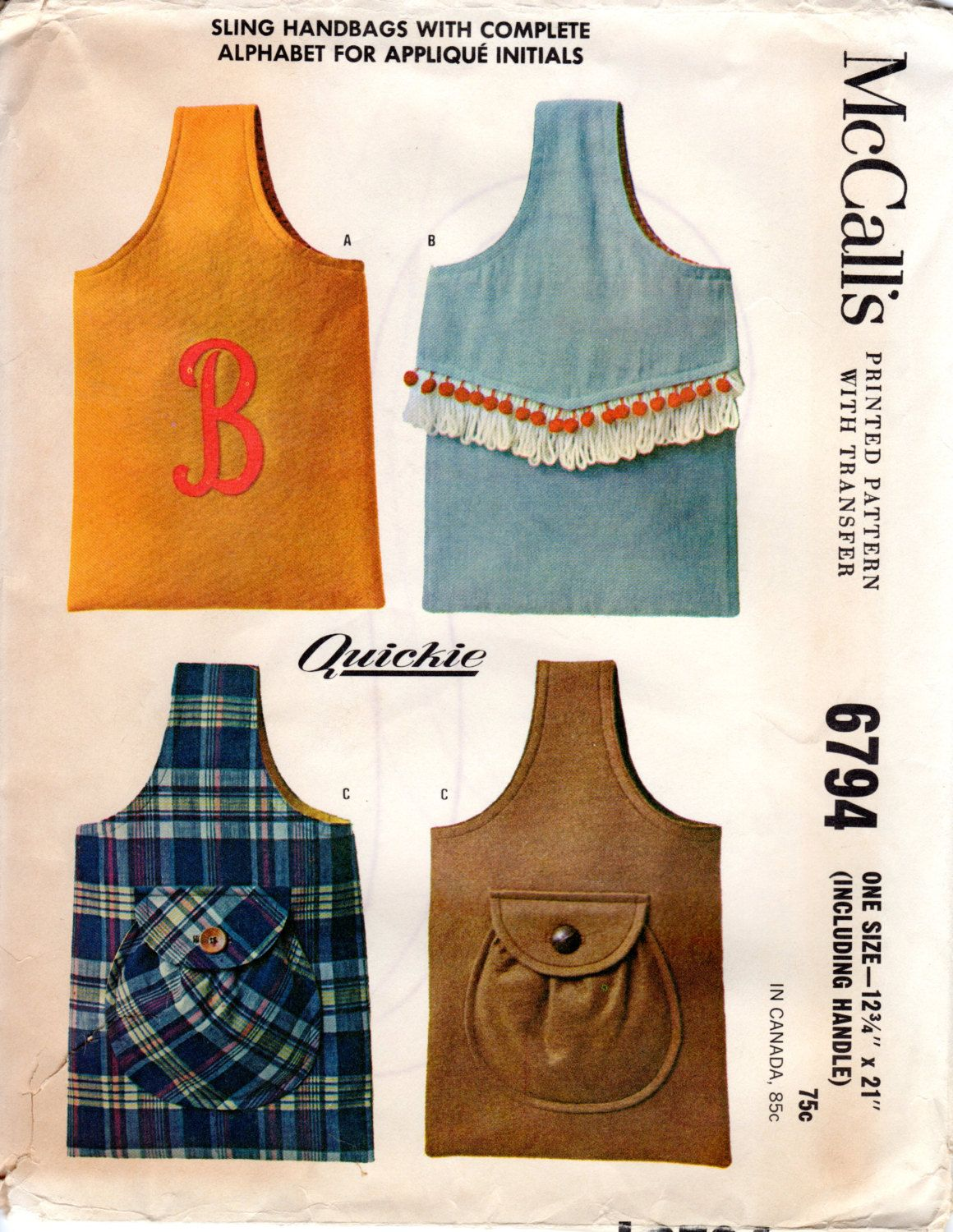 1960s Sling Handbags with Pocket & Monogram - Vintage Pattern ...