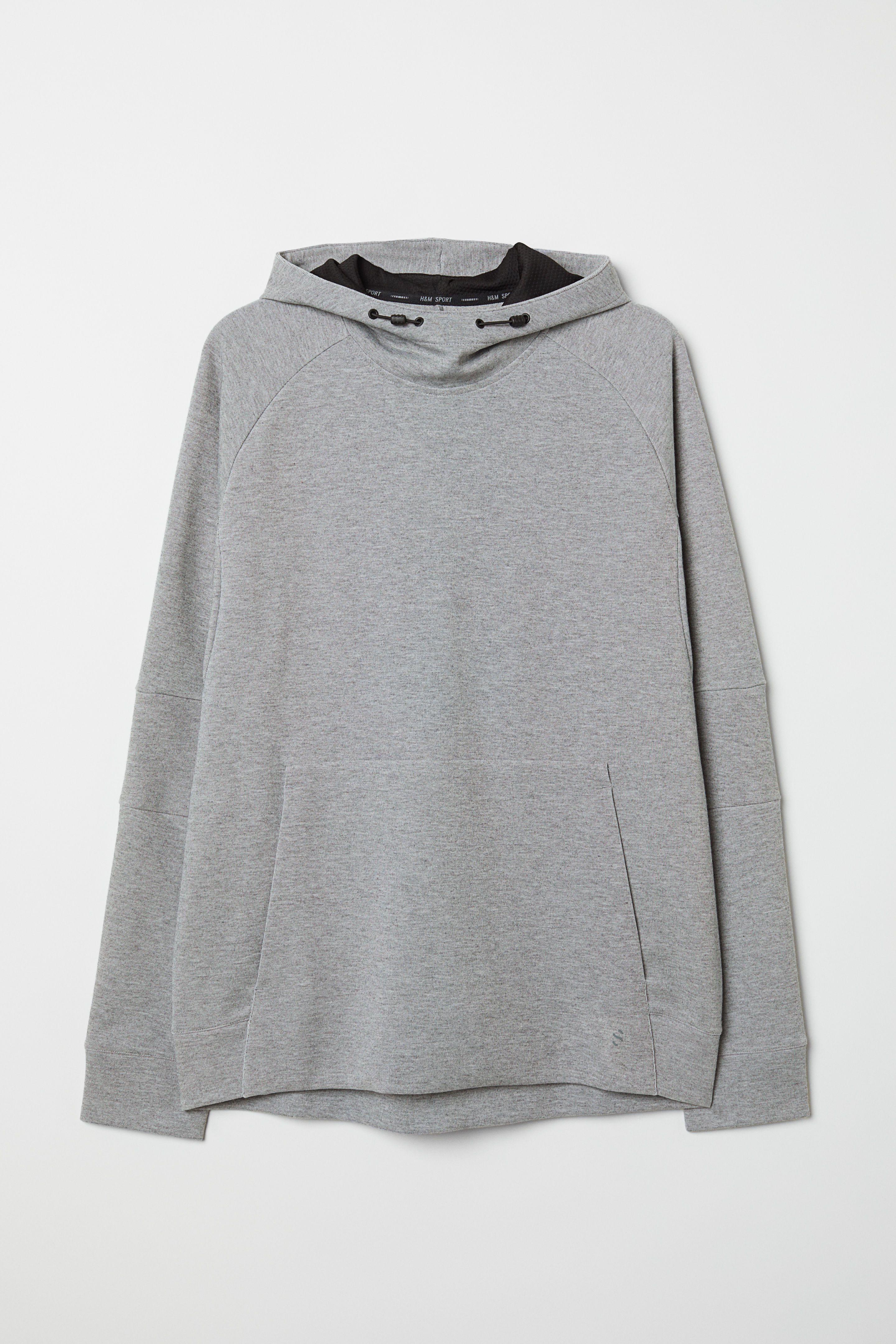 Sweat à capuche homme Adidas L gris clair molleton épais