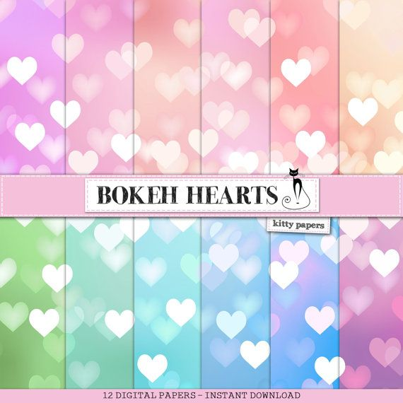 """Bokeh digital paper : """"Bokeh Hearts"""" digital bokeh backgrounds in soft, pastel, rainbow colors with heart patterns, photography overlay"""