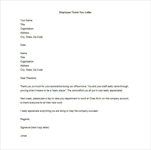 Thank You Letter Employee Free Word Excel Pdf Format For Hard Work