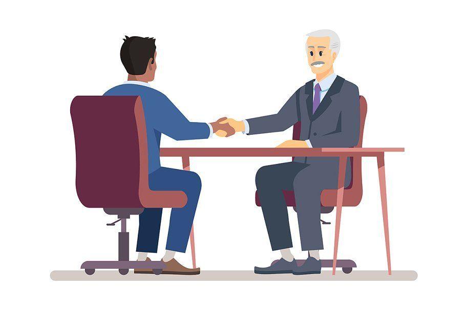 Senior boss hiring employee