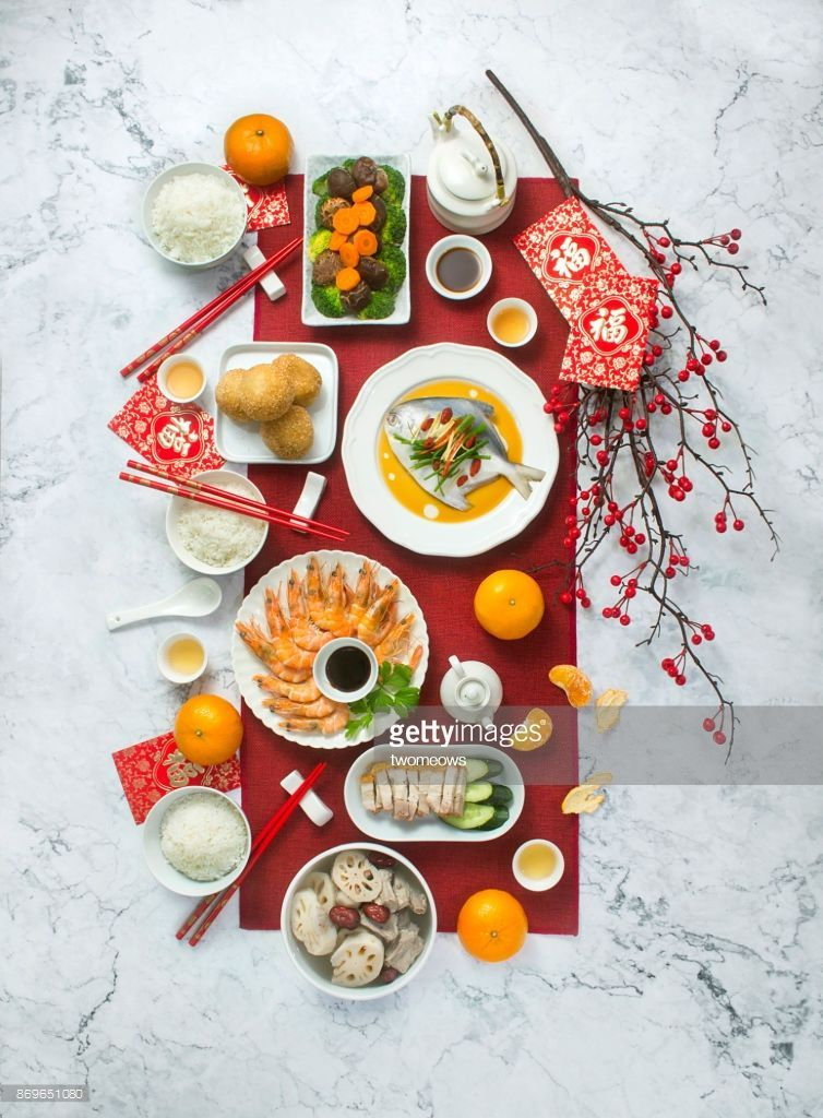 Stock Photo Chinese new year food and drink, reunion