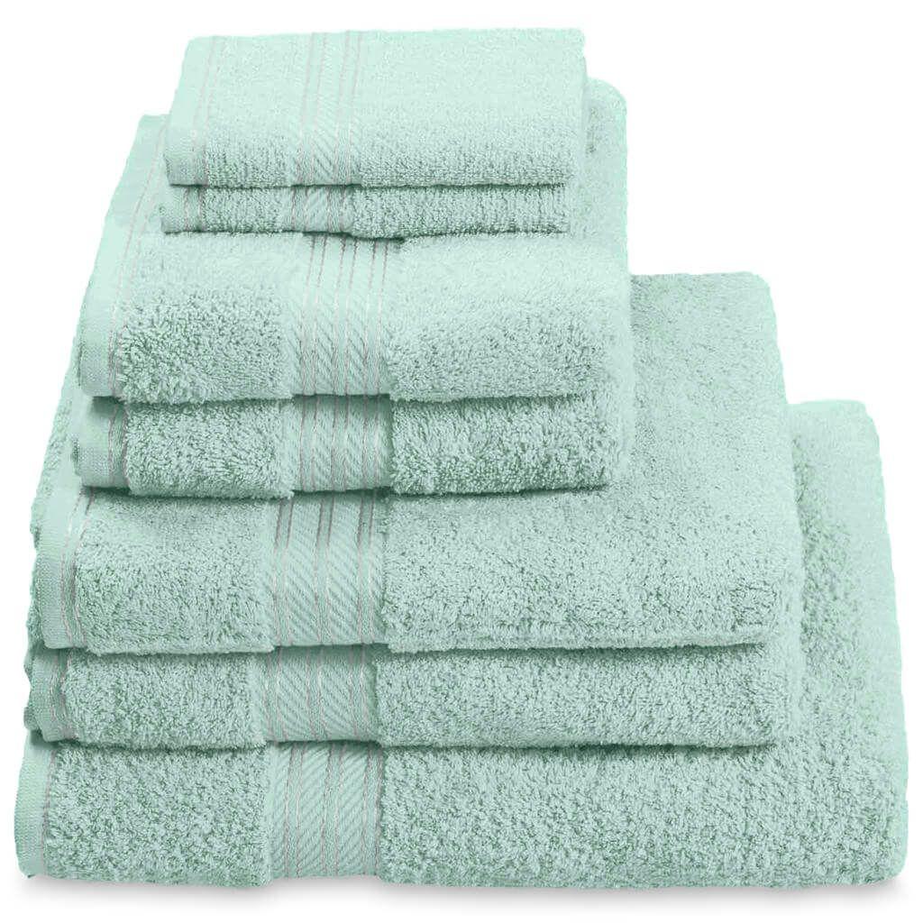 100% Egyptian Cotton 7 Piece Luxury Bath Towel Set, Seafoam Green ...