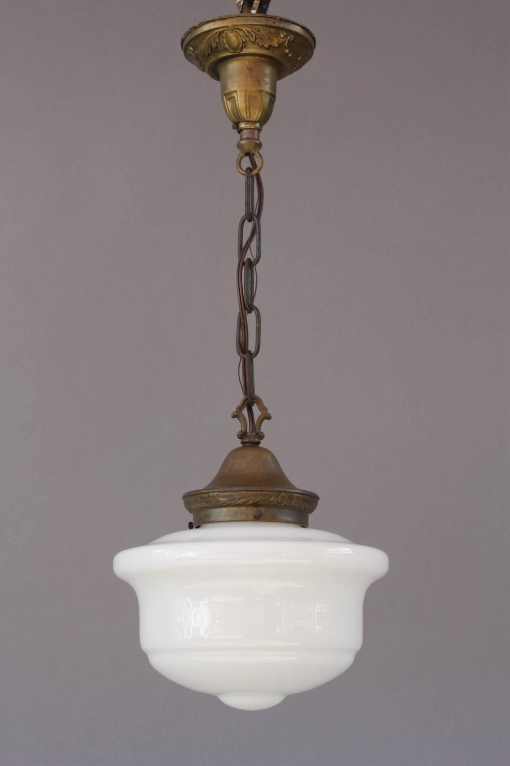 Retro Kitchen Light Fixtures 1920s Milk Glass Pendant Classic Design School House Light Lamp