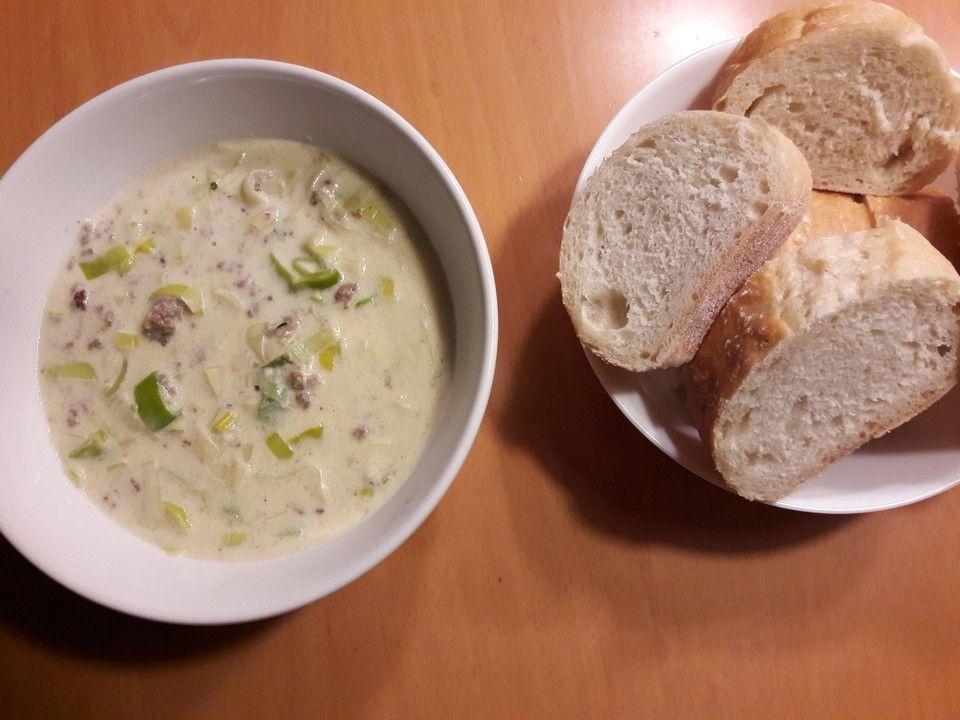Käse-Lauch-Suppe mit Hackfleisch | Rezept | Leckereien | Käse lauch ...