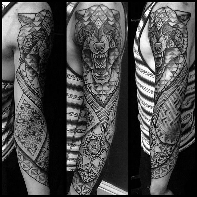 "Geometric Wolf Sleeve: ""Geometric Wolf Sleeve I Started Today On Connor #uktta"