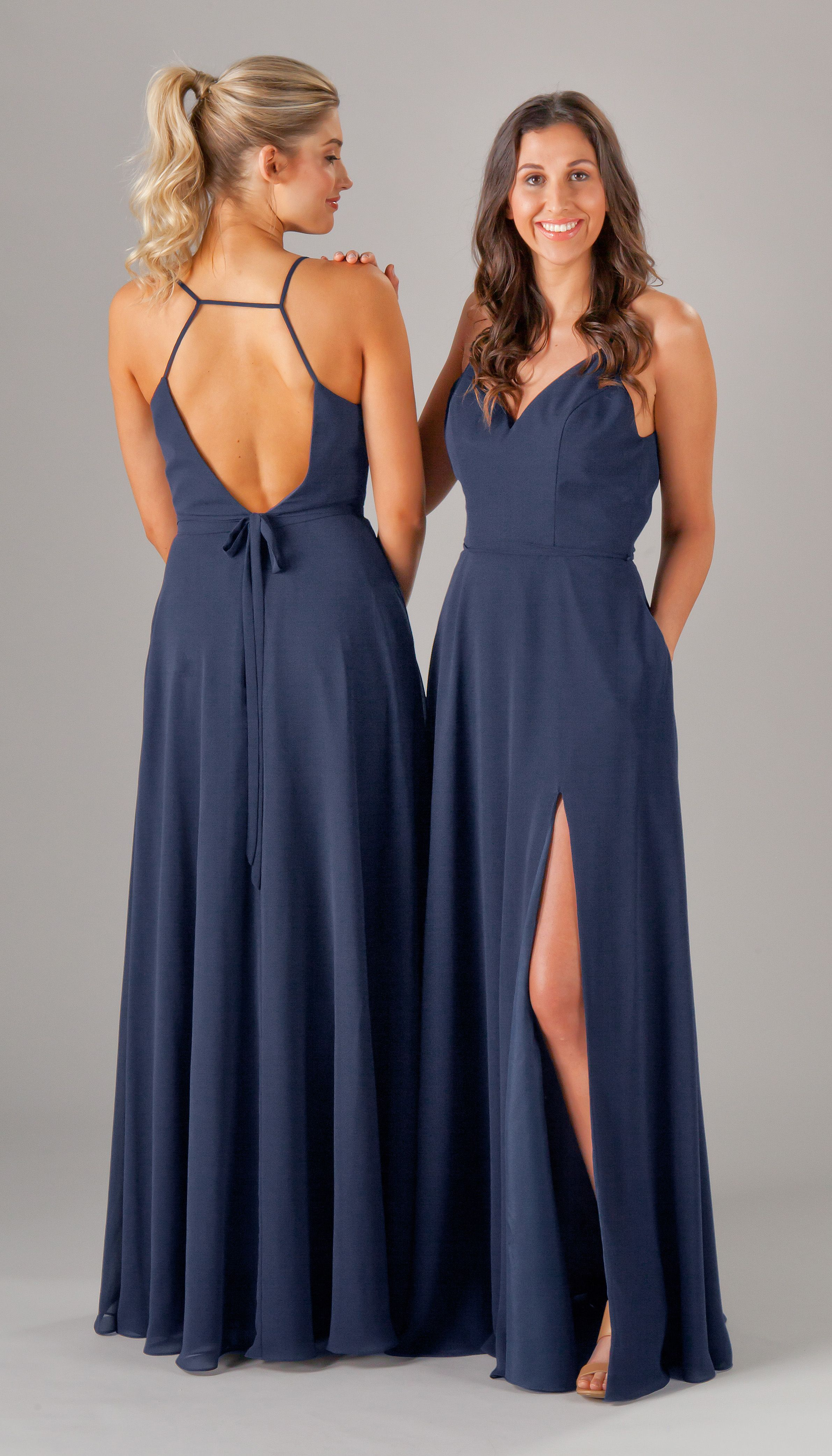 Navy blue bridesmaid dresses are in chiffon dresses are comfortable