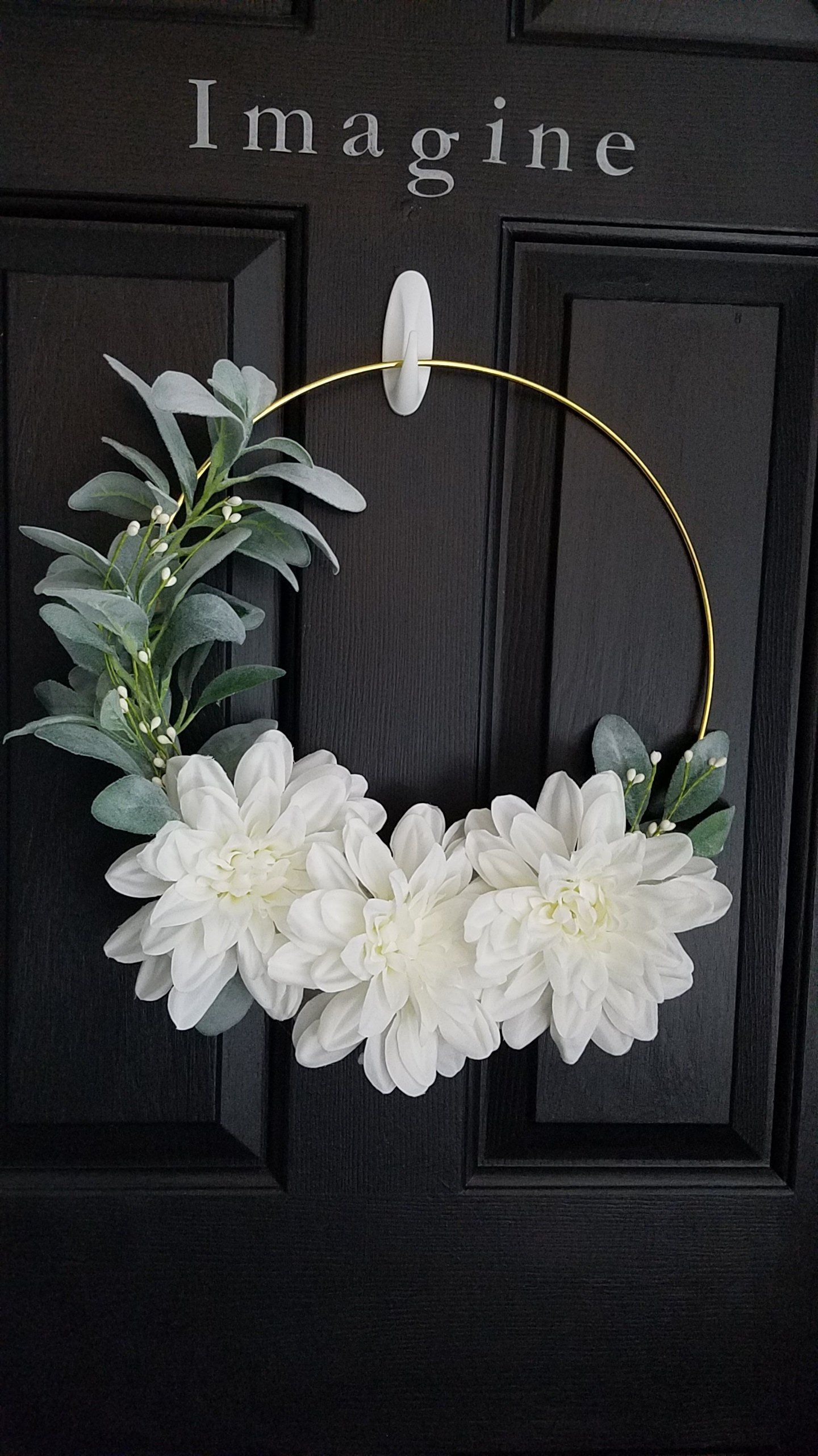 Gold Hoop White Dahlia Wreath Etsy In 2020 White Dahlias Floral Door Wreaths Wreaths