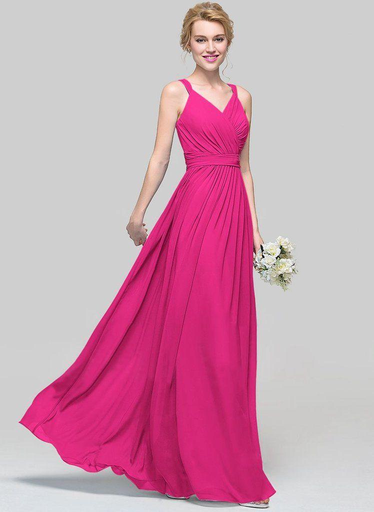 DARCY Fuchsia Hot Pink Long Bridesmaid Wedding Evening Prom Dress ...