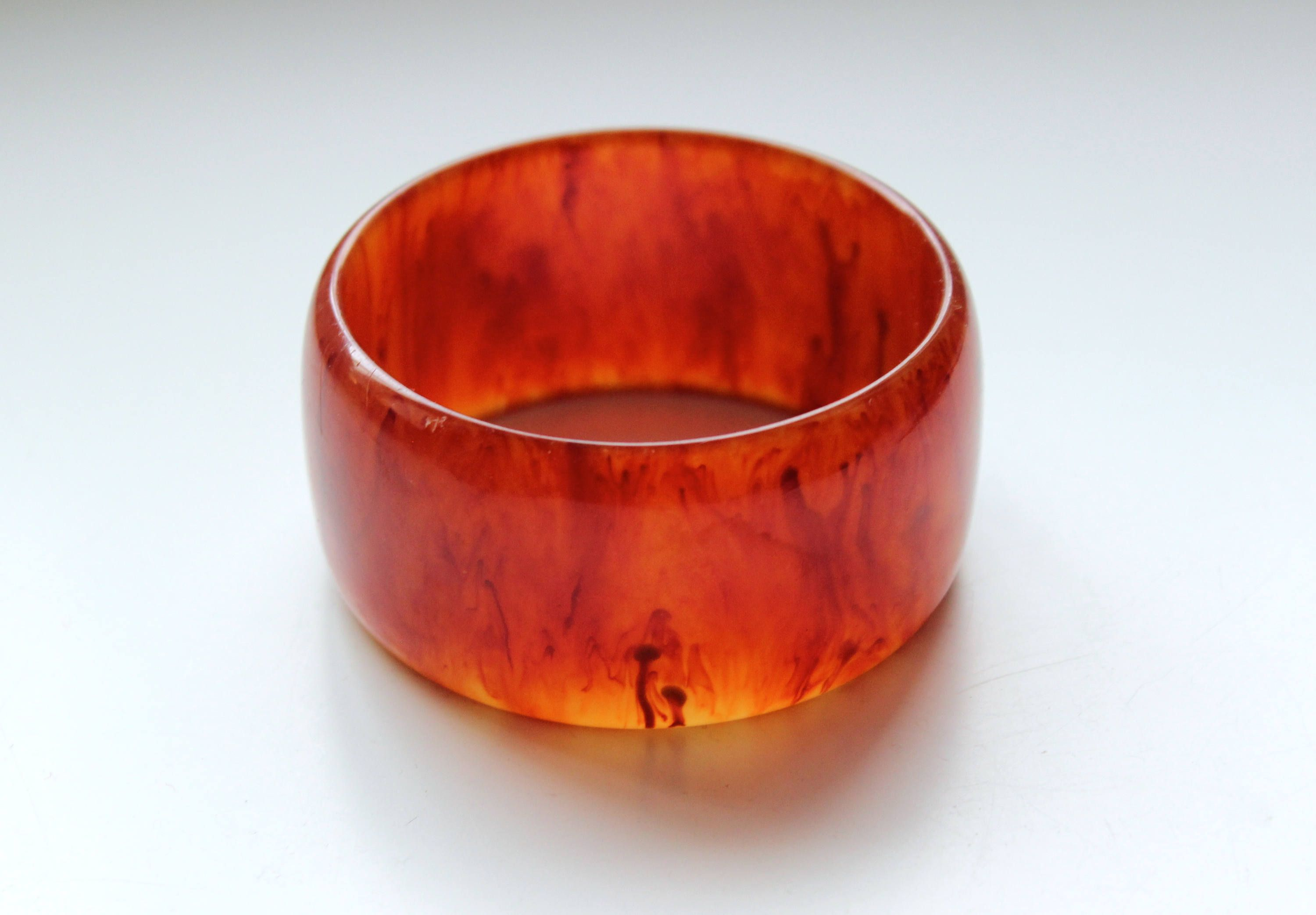 4f1d72d7160dc 1940s wide bakelite bracelet cognac orange paprika bangle ...
