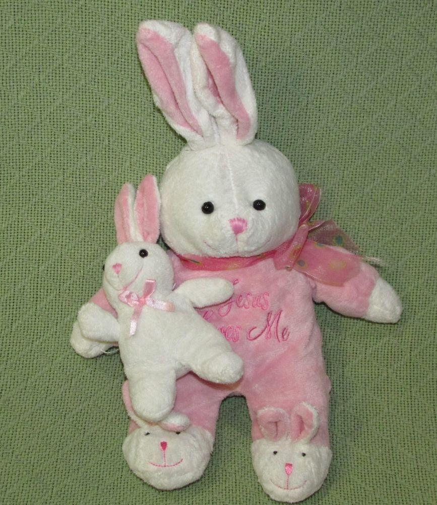 """Dan Dee Jesus Loves Me Pink Bunny & Baby SINGS 16"""" Long Plush Stuffed Lovie Toy #DanDee"""