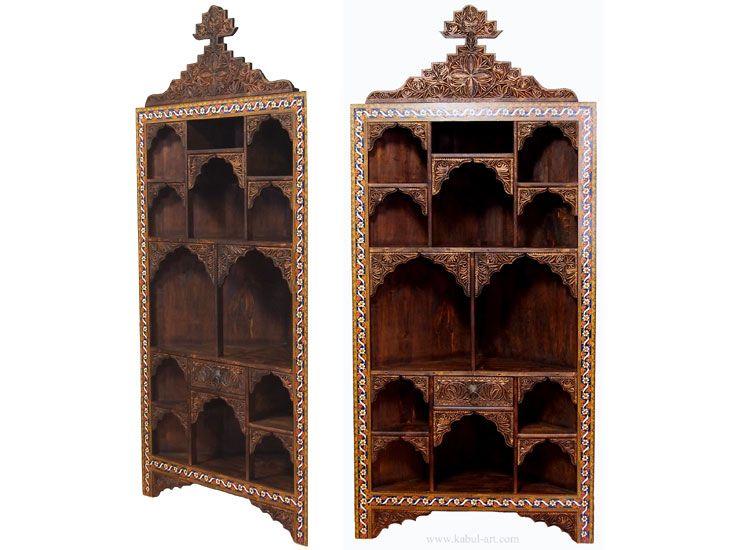 Antik Look Orient Massivholz Wohnzimmerschrank Eck Regal Eckschrank