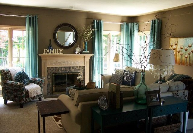 Living Room With Green Accents Green Accents In A Brown Living Room Teal Living Rooms Taupe Living Room Brown Living Room Decor