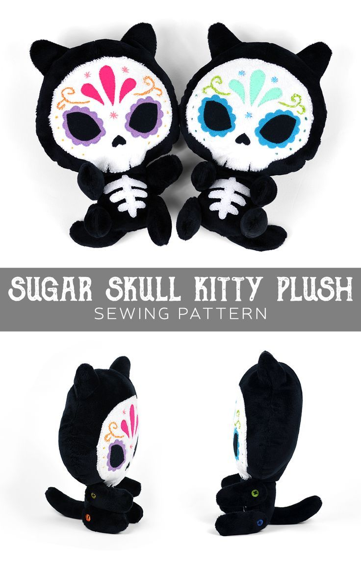 Skull kitty plush free PDF download! How cute is this!! | crafts ...