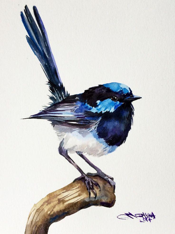 Fairy #Wren #Bird #on #the #branch #small #bird, #blue #bird #ORIGINAL #WATERCOLOR #PAINTING #by #alisiasilverART #on #Etsy # #watercolorarts #smallbirds