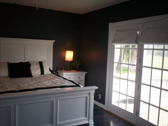 Dark Grey Bedroom Walls with white furniture... this bed frame is nice Zach