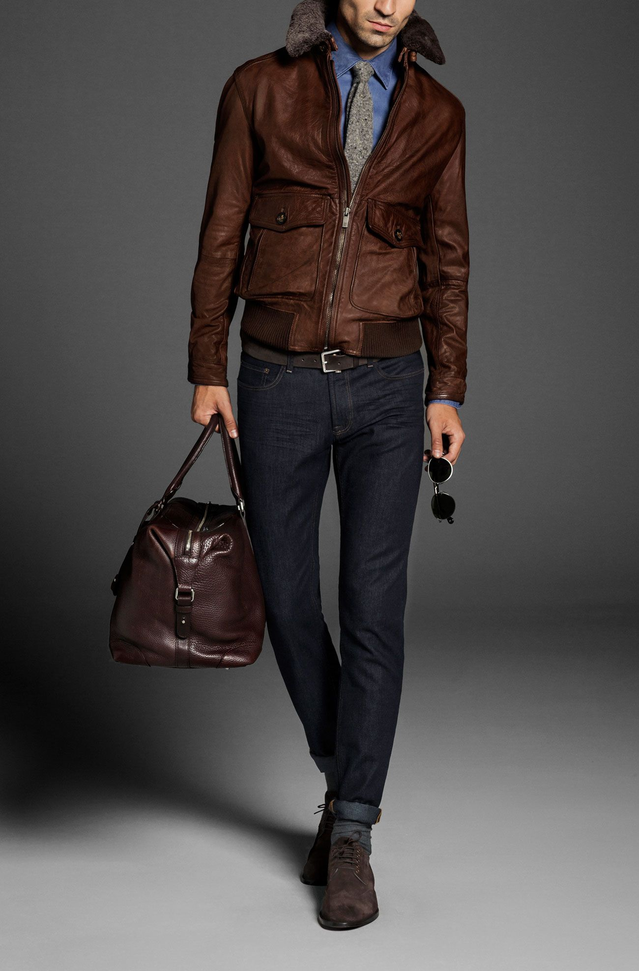 NAPPA JACKET WITH AVIATOR COLLAR Leather jackets MEN