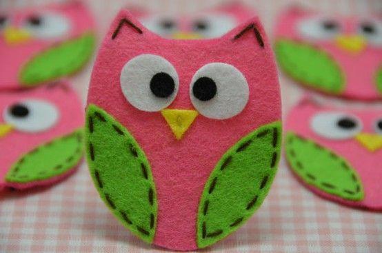 Felt owl decorations. | Grandpins