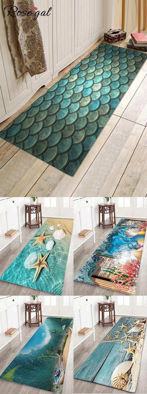 Rosegal Mermaid Scale Print Bath Floor Mat Home decor ideas