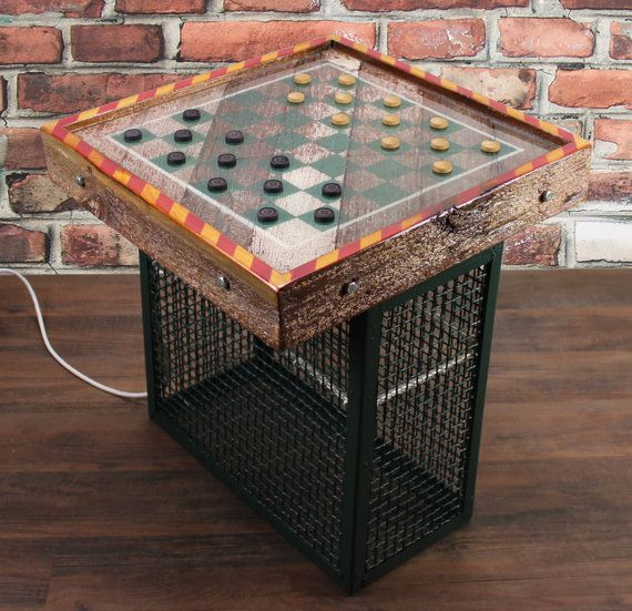Game Table Reclaimed Barn Wood/Industrial Salvage By Reclaimery, $265.00
