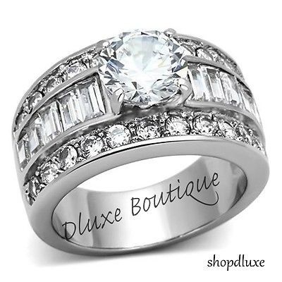 cool STUNNING ROUND CUT CZ STAINLESS STEEL WIDE BAND ENGAGEMENT RING WOMEN'S SZ 5-10 - For Sale