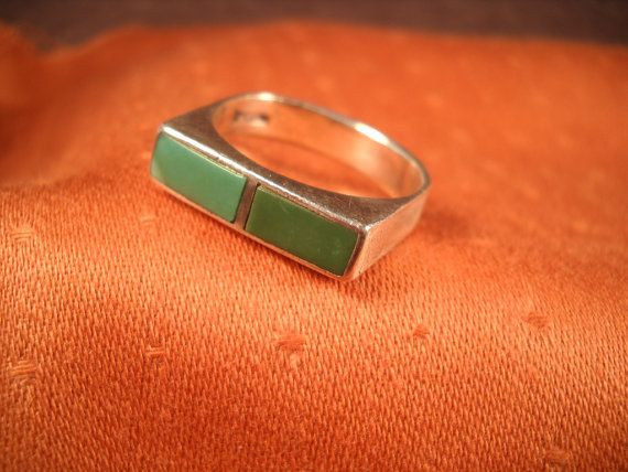 SILVER TURQUOISE RING from the 1970's two by ChristophCreations, $30.00