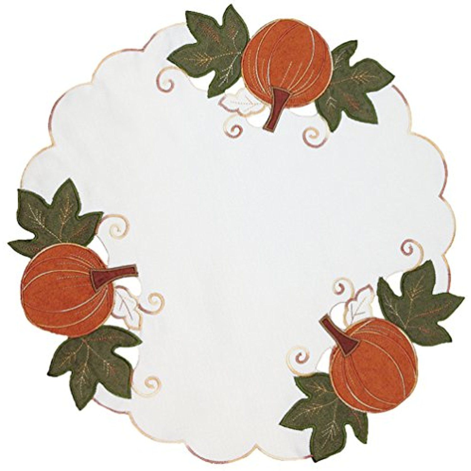 Xia Home Fashions Pumpkin Patch Embroidered Cutwork Linens Collection Fall Doilies 16 Inch Round Set Of 4 You Can Get Fashion Pumpkin Cutwork Embroidered